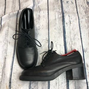 90's Vintage Shoes Chunky Genuine Leather Black 8